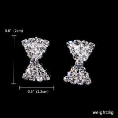 1DZ(12pairs) Silver Cut Heart Shape Rhinestone Stud Earring Jewelry 121-6148