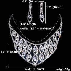 12set Wedding Jewelry Set Fashion Bride Rhinestone Necklace Earring Jewelry Set Wholesale 1402-6509