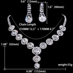 12set Wedding Jewelry Set Fashion Bride Rhinestone Necklace Earring Jewelry Set Wholesale 1402-6514