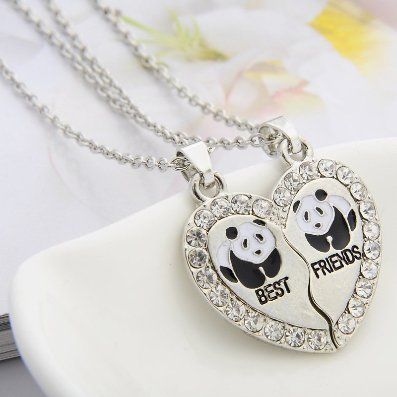 Crystal Stone Tiny Panda Best Friend BFF Cute Gift Animal jewelry Panda silver necklace gift for women