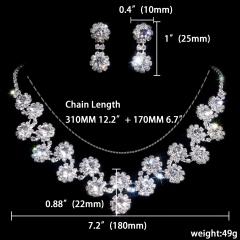 1DZ (12 Set) Fashion Silver Rhinestone Necklace Earring Set Ready In Stock 1402-6536