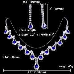 1DZ (12 Set) Fashion Silver Rhinestone Necklace Earring Set Ready In Stock 1402-6546