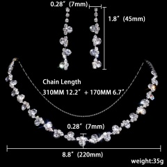 12 Set Statement Silver Gemstone Jewelry Set Necklace with Earring Set 1402-6547