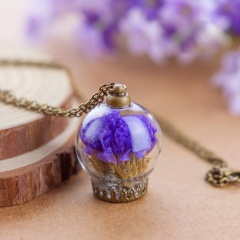 Fashion Ball Dried Flower Glass Bottle Pendant Necklace Woman Party Jewelry New Purple