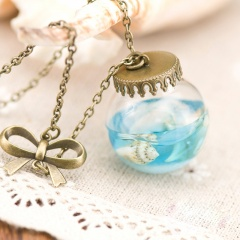 Ocean Series Pearl Sea Shell Drifting Bottle Glass Cover Necklace (size 25mm ball diameter, chain length 87cm) Bronze