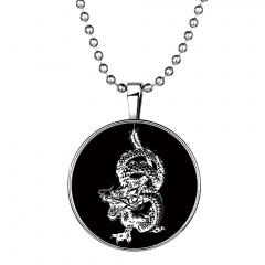 Silver Sublimation Earth Patten Glow in the Dark Pendant Necklace Dargon