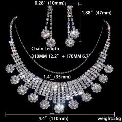 Rhinestone Necklace Earring Jewelry Set 1402-6569