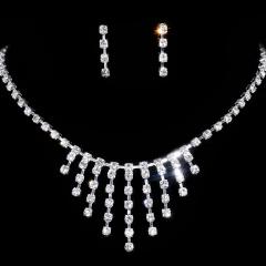 Shinning Jewelry Set Wedding Necklace With Earring Set Bride Jewelry Gift Rhinestone Dangle Earring Jewelry For Women Weeding Jewelry