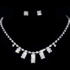 Simple Party Jewelry Set Rhinestone Necklace And Earring Set Bride Jewelry Wedding Elegant Jewelry Gift Wedding Jewelry