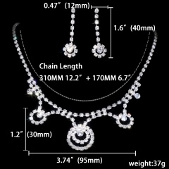 1DZ (12 Set) Wedding Rhinestone Silver Necklace Earring Jewelry Set 1002-6198