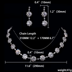 12 Set Wedding Shinning Necklace Earring Jewelry Set Rhinestone Jewelry Wholesale 1402-6625