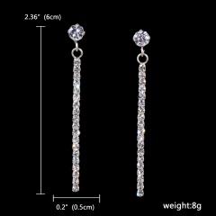 12 Pairs Wedding Bride Earring Silver Rhinestone Earrings 131-6190