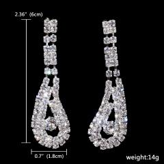1DZ (12Pairs) Long Simple Silver Rhinestone Bride Wedding Earring Jewelry 131-6271
