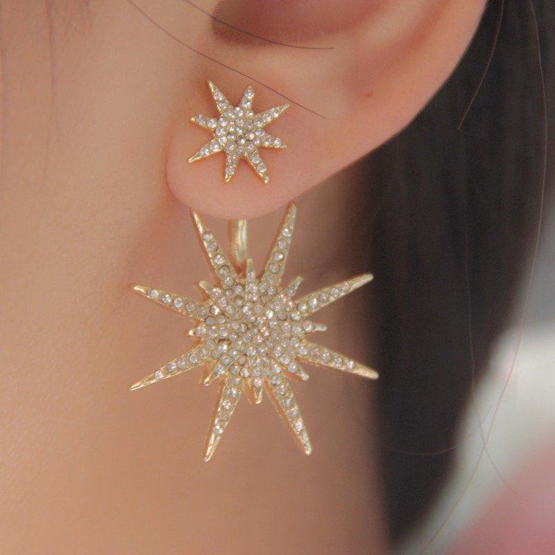 1Pair Lady Crystal Rhinestone Dangle Gold Star Ear Stud Earrings Women Jewelry