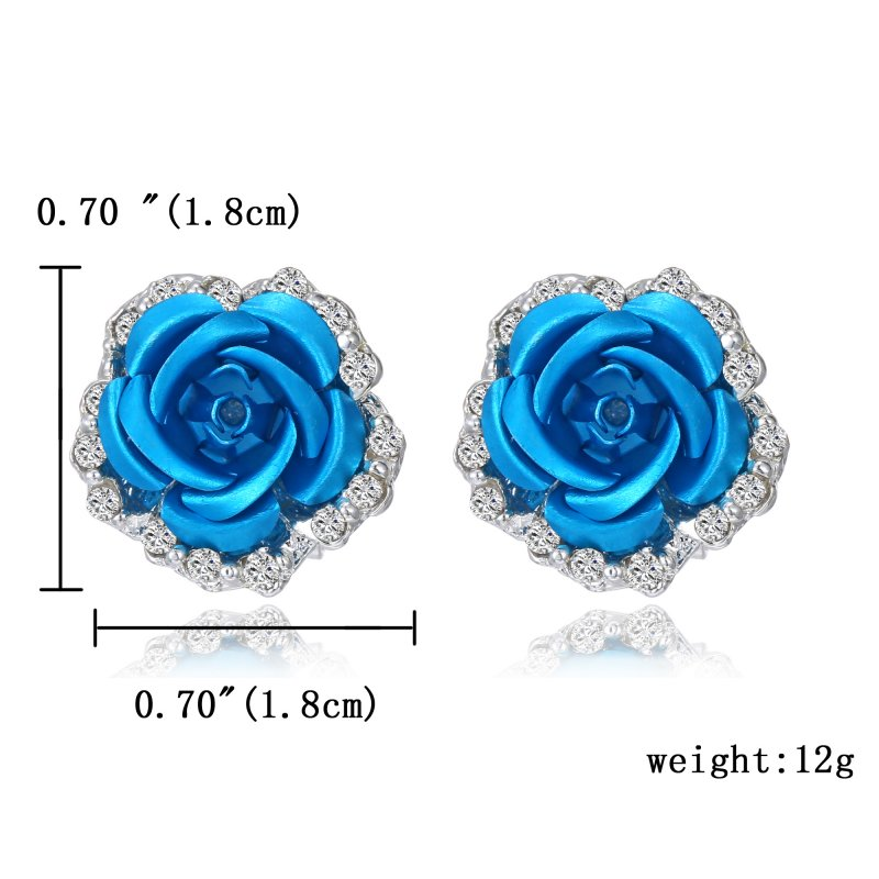 9ff821caef1f3 Women Crystal Rhinestone Rose Flower Ear Stud Earrings Wedding ...