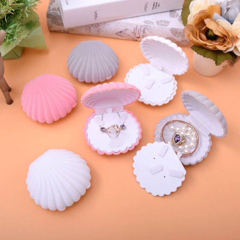 Shell Shape Lovely Earrings Ring Velvet Gift Display Box Necklace Case New