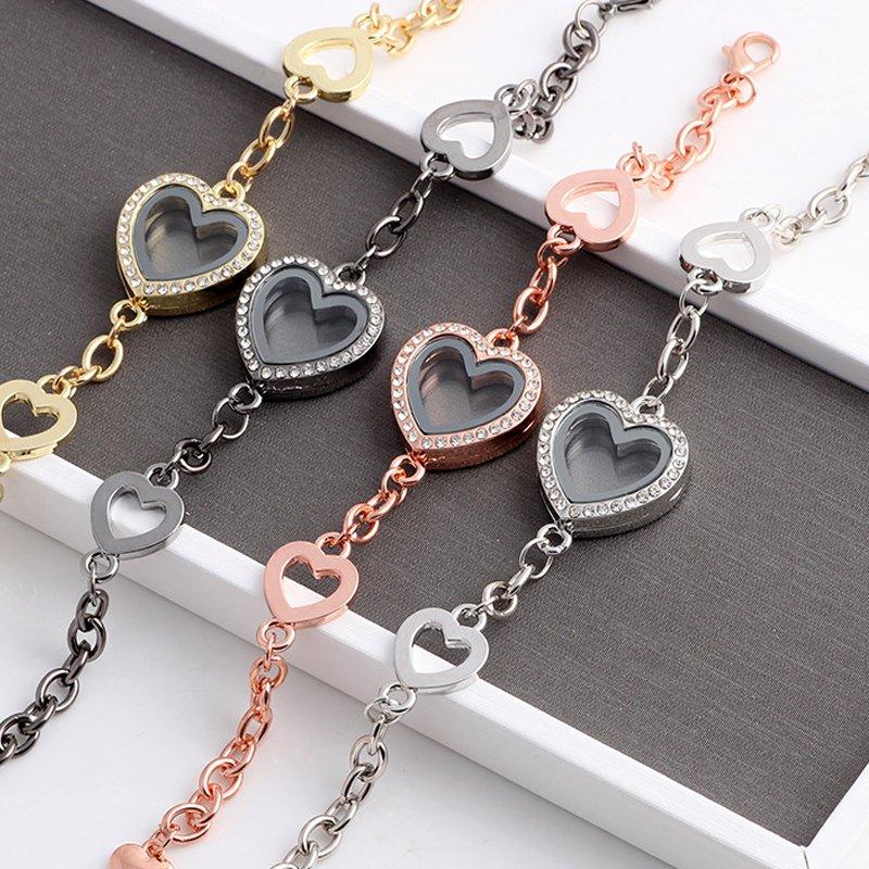 1pc Médaillon Coeur flottant Médaillon Bracelets Wholesale Mémoire vivante Médaillon Lot