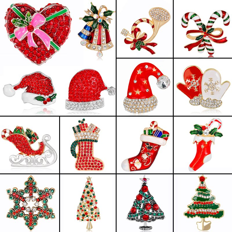 New Enamel Crystal Christmas Tree Boot Snowflake Shape