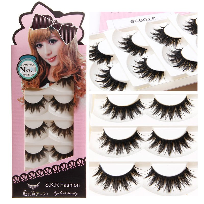 13f9f08d43f Details about 5 Pairs Natural Soft Handmade Long Black Thick False  Eyelashes Eye Lashes Makeup