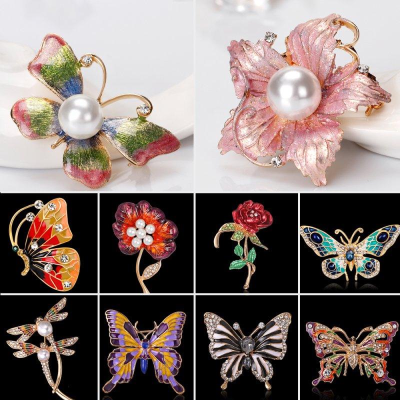 Colorful Enamel Butterfly Flower Crystal Rhinestone Stud Earrings for Women Girls Birthday Gift