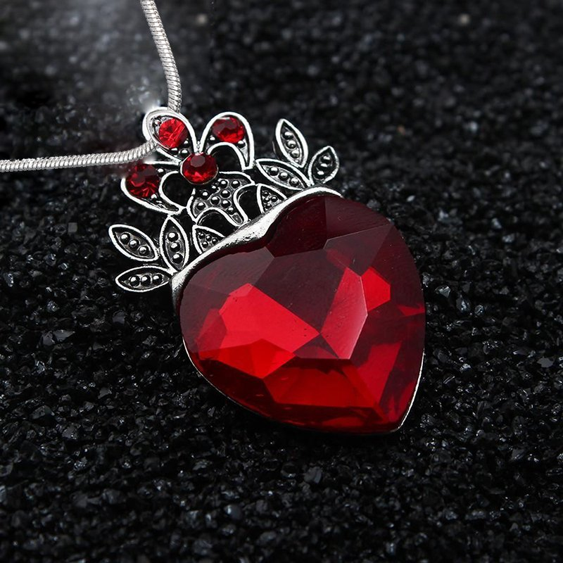 Women Angel Wing Pendant Ruby Crystal Heart Leather Chain Sweater Necklace Gift