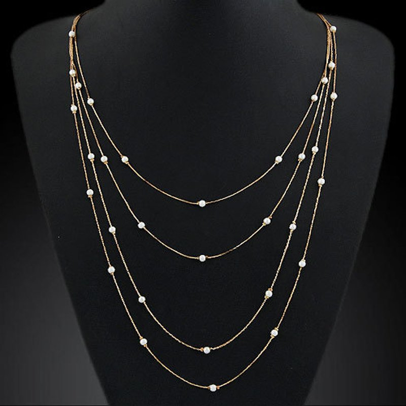Jewelry Gold Sliver Pearl Cross Owl Pendants Statement Necklace Chain Chocker 4
