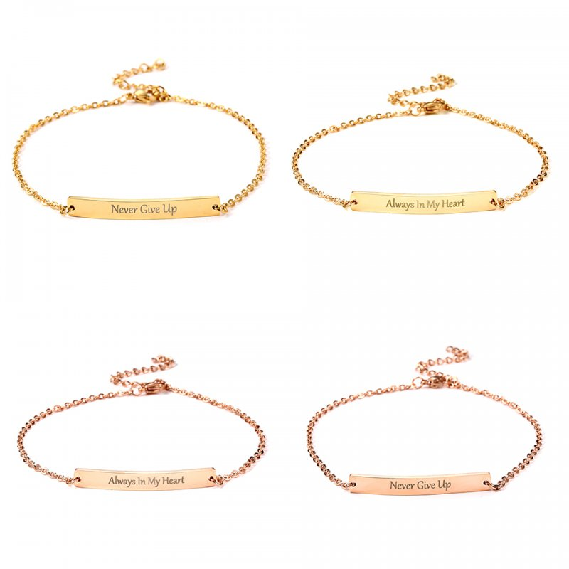 Details about Always In My Heart Stainless Steel Custom Letter Bar Cuff  Bracelet Bangle Chain