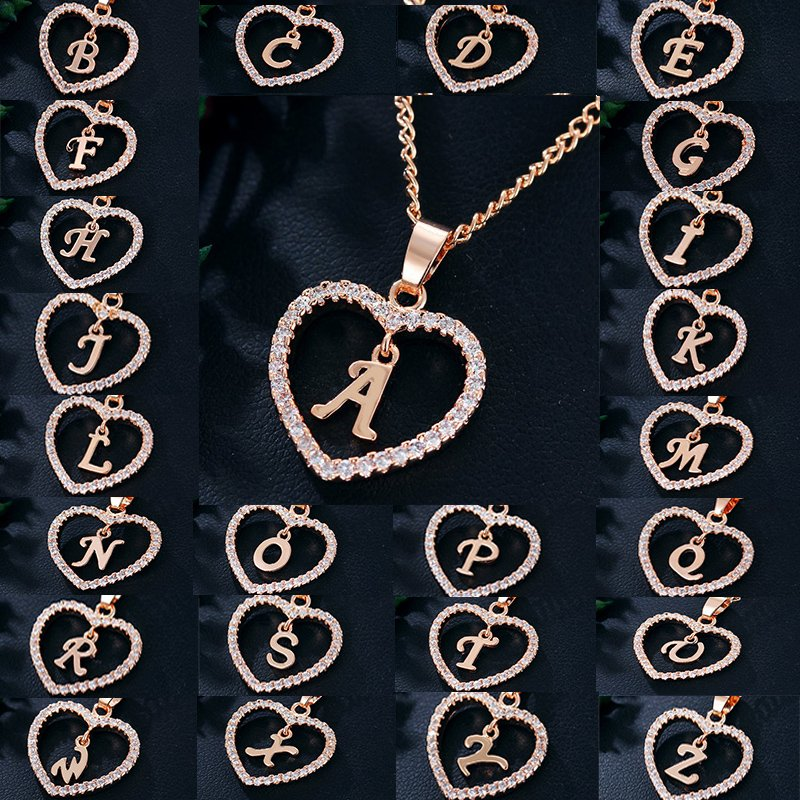 74787922ab Details about 26 Letters Alphabet A-Z Rose Gold Crystal Love Heart Pendant  Necklace Jewelry