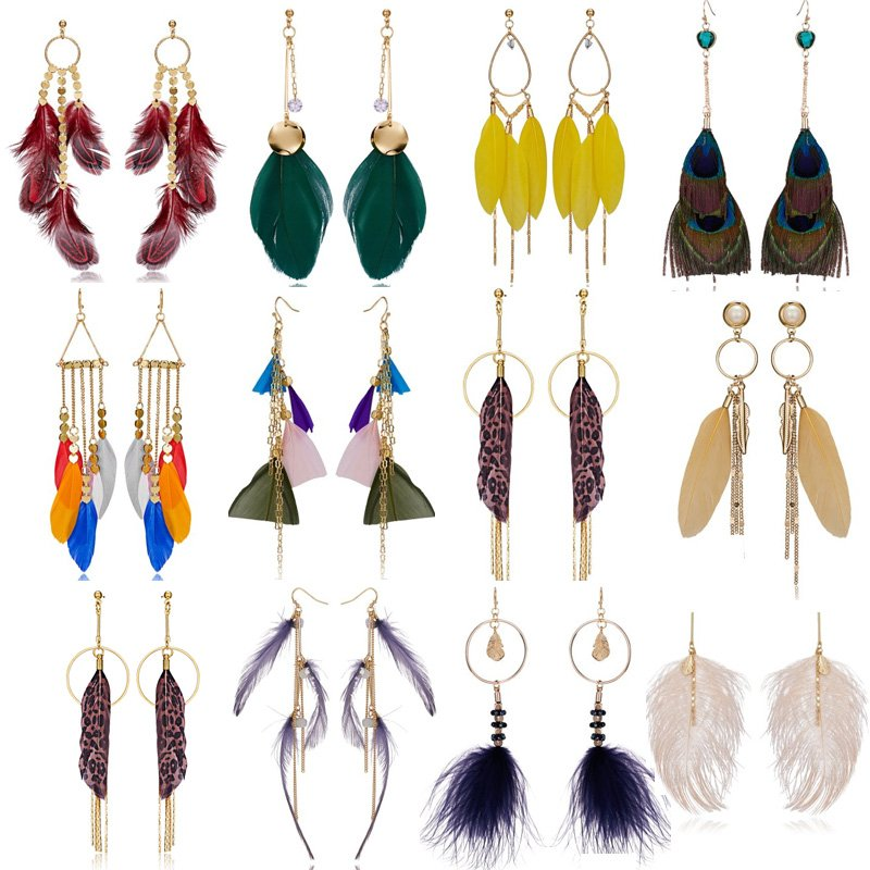 Details about Fashion Boho Long Tassel Feather Hook Drop Dangle Stud Earrings  Women Jewelry 62860a63364b
