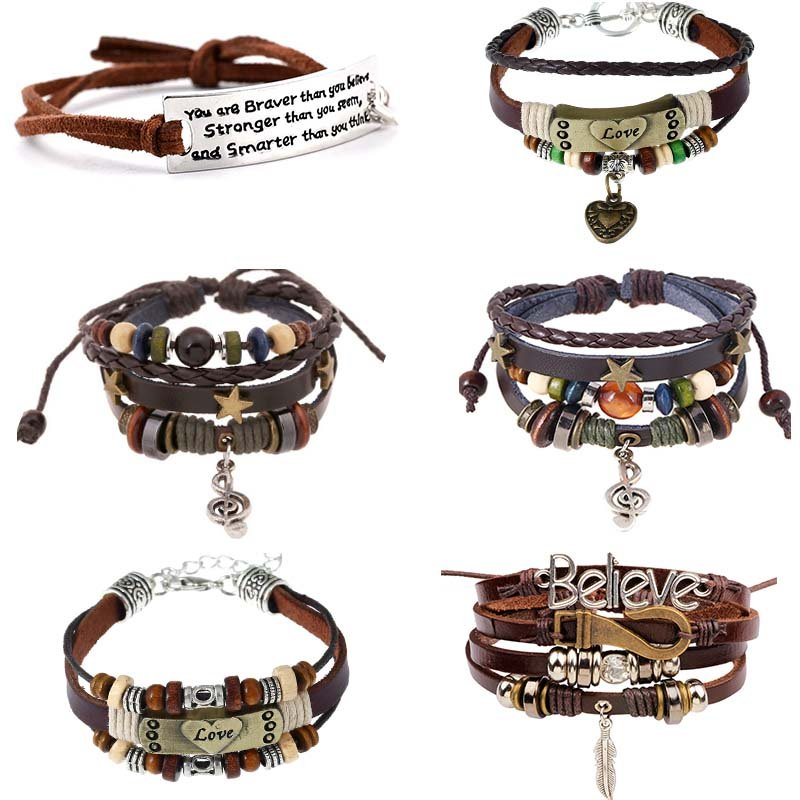 Details about Women Men Leather Music Note Letters Bracelet Feather LOVE  Bangle Jewelry Gift