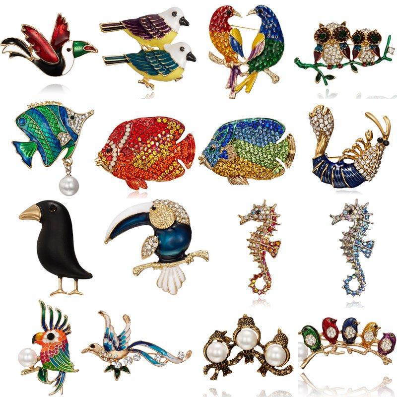 Crystal Rhinestone Animal Owl Bird Brooch Pin Costume Breastpin Women Jewellery