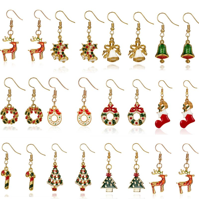 Fashion Christmas Tree Deer Crutch Hook Drop Dangle Earrings Womens Jewellery