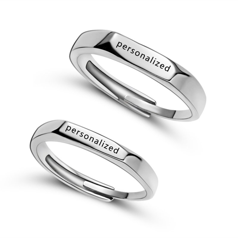 Personalized engraving Free custom engraving Set of 2 Matching rings 925 Sterling Silver His and His rings Her and Her rings rings
