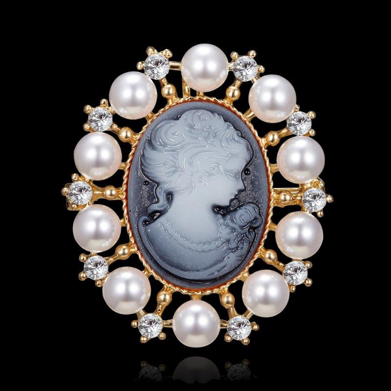 Silver Color Pearl Rhinestone Round Flower Elegant Women Fashion Brooch Pin Gift