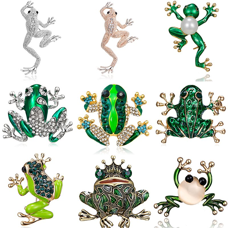 736f790c Details about Fashion Pearl Crystal Rhinestone Frog Animals Enamel Brooch  Pin Womens Jewellery