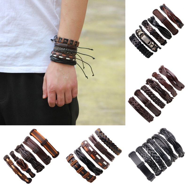 Women Men Genuine Leather Stainless Steel Handmade Cuff Wristband Bracelet