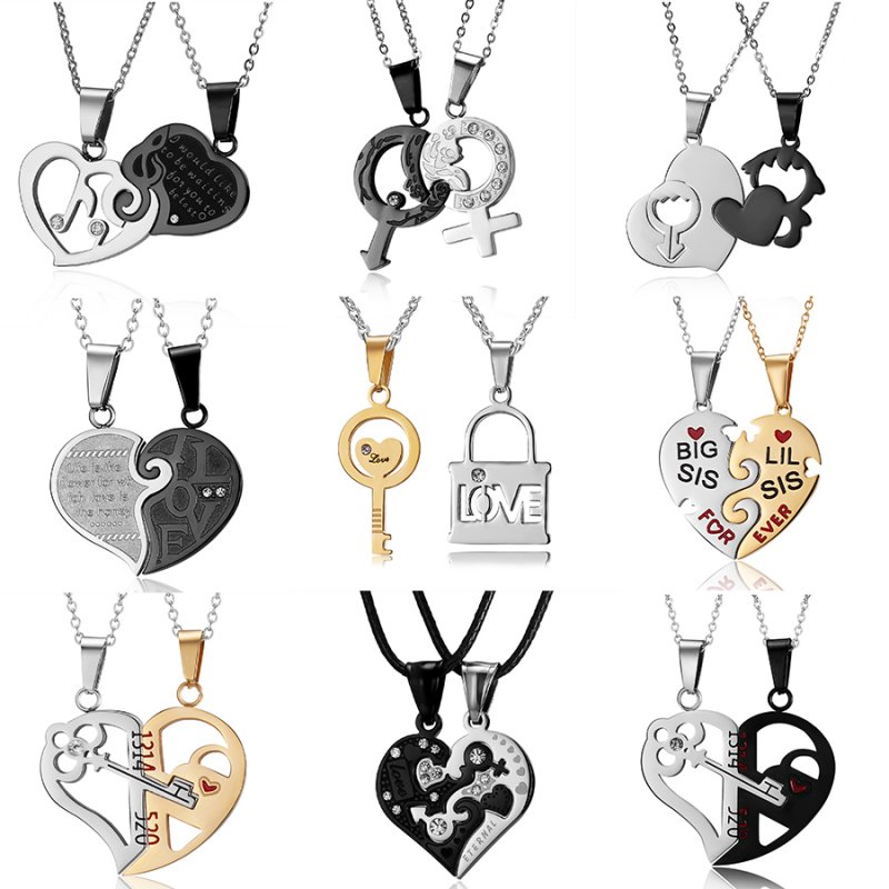 New Vintage Lover Couple Chain Heart Shape Stainless Steel Dangle Charm Necklace