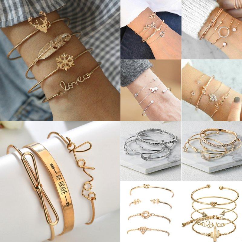 ec37535ed2ad8 Details about Fashion Women Bangle Bracelets Set Rhinestone Boho Gold  Silver Cuff Jewelry Gift