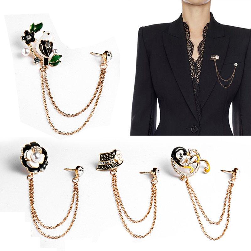 c4778c9836 Men Women Crystal Chain Pin Lapel Suit Tie Brooch Costume Wedding ...