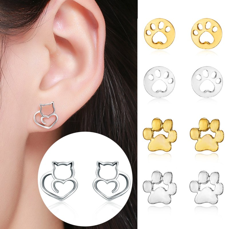 f520251f8 Details about Women Hollow Cat Dog Paw Print Earrings 925 Silver Ear Stud  Fashion Jewelry Gift
