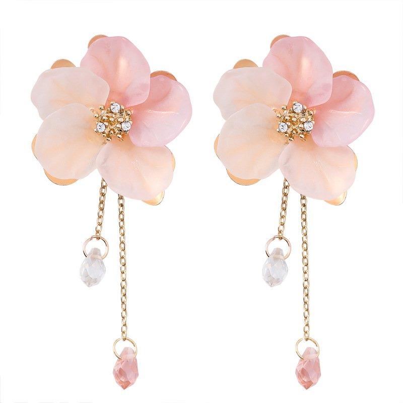 rose earrings girl/'s earrings Seed bead earrings pink earrings women/'s earring flower earrings boho earrings
