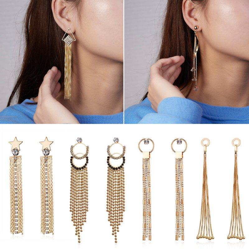 c9cb0f6054 Fashion Long Chain Hook Tassel Crystal Stud Drop Dangle Earrings ...