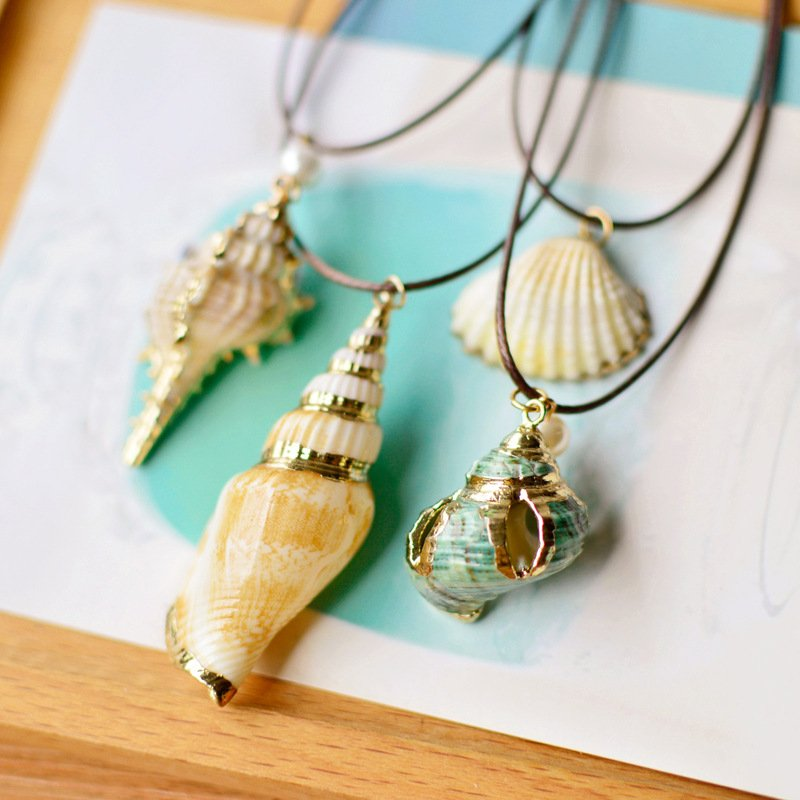Fashion Summer Natural Conch Seashell Pendant Necklace Rope Chain