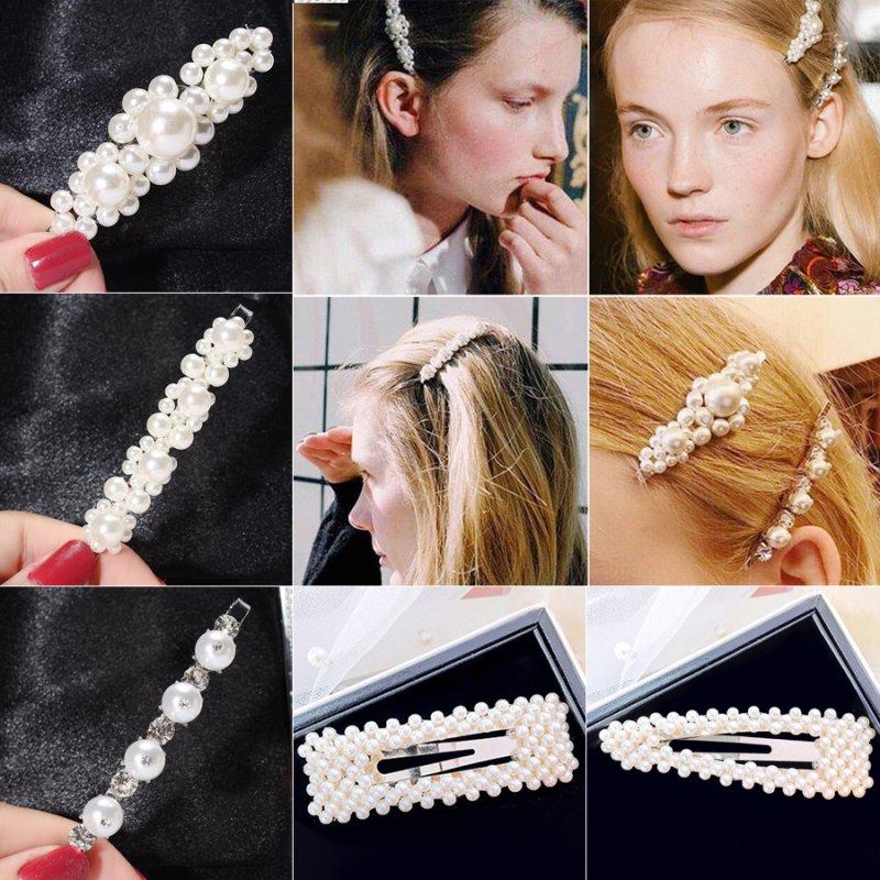 Fashion Women Girls Pearl Crystal Hair Barrette Clip Hairpin Hair Accessories E
