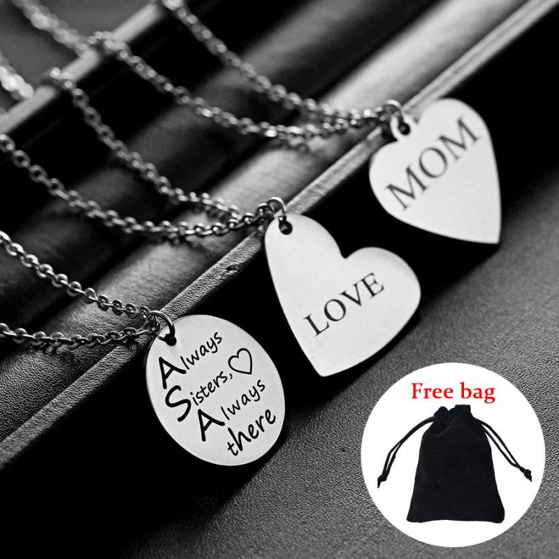 Stainless Steel Personalized Engraved DIY Custom Name Crystal Pendant Necklace