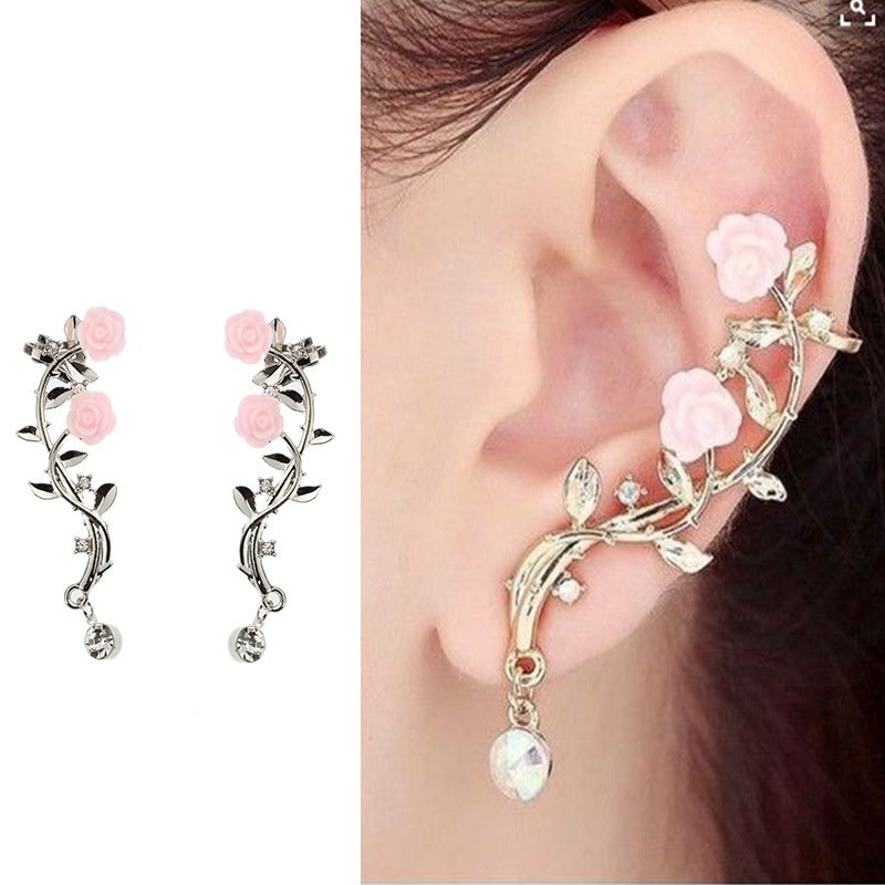 50e0386f01d Details about Fashion Lady Gold Rose Leaf Flower Crystal Ear Stud Cuff  Earring Women Jewelry