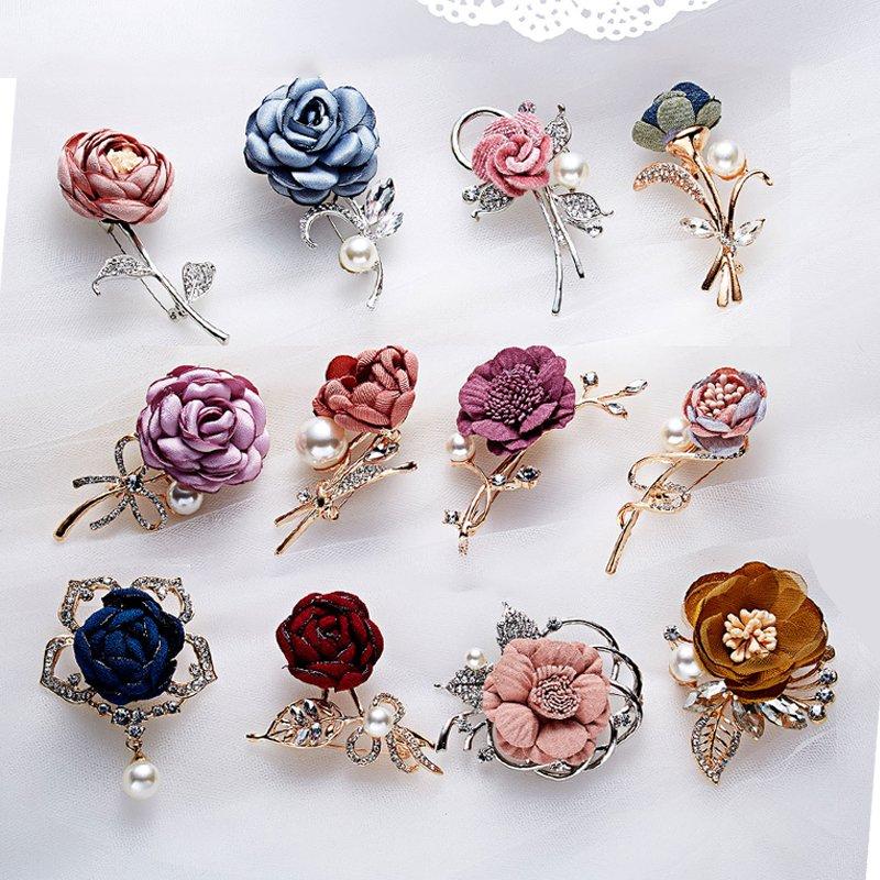 2019 New Fashion Flower Cloth Crystal Pearl Brooch Pin Wedding Women Jewellery