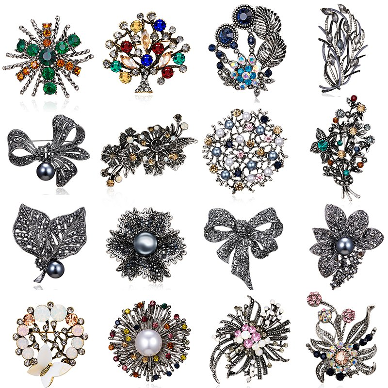 4ce06a2d491 Details about Elegant Crystal Flower Brooches Pins Women Costume  Boutonniere Jewelry Gift New