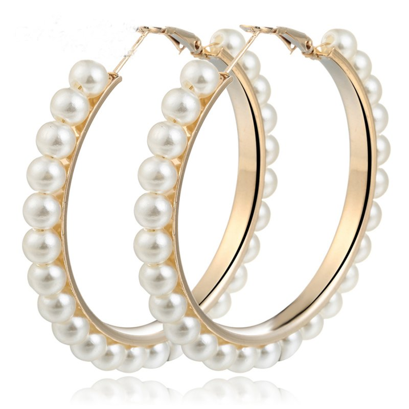 d425582b8d0e7 Details about Elegant Gold Pearls Circle Hoop Earrings Women Oversize Pearl  Fashion Jewelry