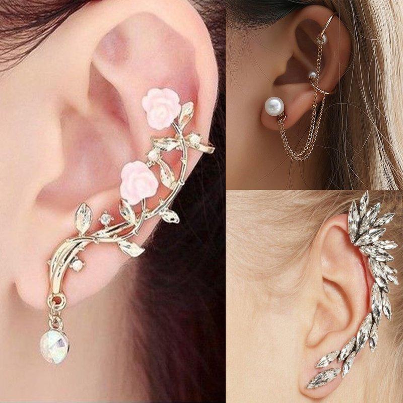 Fashion Flower Crystal Clip Ear Cuff